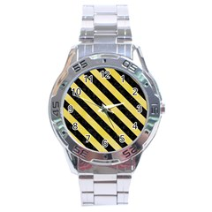 Stripes3 Black Marble & Yellow Watercolor Stainless Steel Analogue Watch