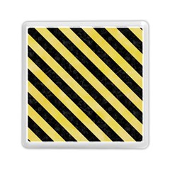 Stripes3 Black Marble & Yellow Watercolor Memory Card Reader (square)