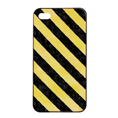 Stripes3 Black Marble & Yellow Watercolor Apple Iphone 4/4s Seamless Case (black)