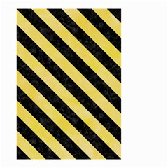 Stripes3 Black Marble & Yellow Watercolor Small Garden Flag (two Sides)
