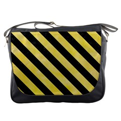 Stripes3 Black Marble & Yellow Watercolor Messenger Bags