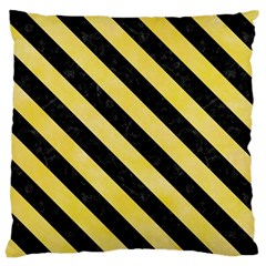 Stripes3 Black Marble & Yellow Watercolor Large Cushion Case (one Side)
