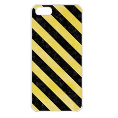 Stripes3 Black Marble & Yellow Watercolor Apple Iphone 5 Seamless Case (white)