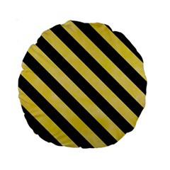 Stripes3 Black Marble & Yellow Watercolor Standard 15  Premium Round Cushions