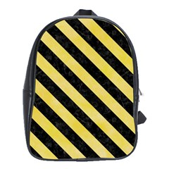 Stripes3 Black Marble & Yellow Watercolor School Bag (xl)