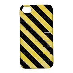 Stripes3 Black Marble & Yellow Watercolor Apple Iphone 4/4s Hardshell Case With Stand