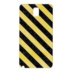 Stripes3 Black Marble & Yellow Watercolor Samsung Galaxy Note 3 N9005 Hardshell Back Case