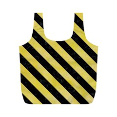 Stripes3 Black Marble & Yellow Watercolor Full Print Recycle Bags (m)