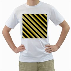 Stripes3 Black Marble & Yellow Watercolor Men s T Shirt (white)