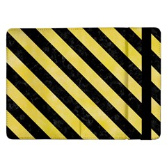 Stripes3 Black Marble & Yellow Watercolor Samsung Galaxy Tab Pro 12 2  Flip Case