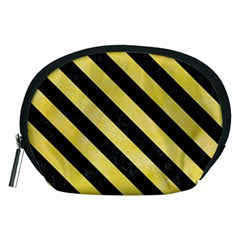 Stripes3 Black Marble & Yellow Watercolor Accessory Pouches (medium)