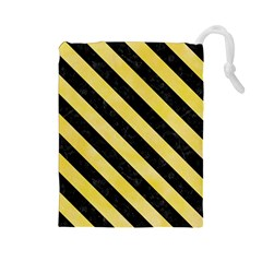 Stripes3 Black Marble & Yellow Watercolor Drawstring Pouches (large)