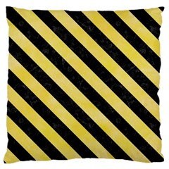 Stripes3 Black Marble & Yellow Watercolor Large Flano Cushion Case (two Sides)