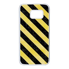 Stripes3 Black Marble & Yellow Watercolor Samsung Galaxy S7 White Seamless Case