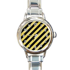 Stripes3 Black Marble & Yellow Watercolor (r) Round Italian Charm Watch