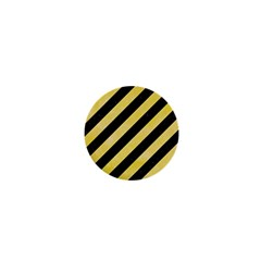 Stripes3 Black Marble & Yellow Watercolor (r) 1  Mini Buttons