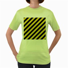 Stripes3 Black Marble & Yellow Watercolor (r) Women s Green T Shirt