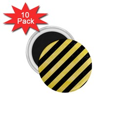 Stripes3 Black Marble & Yellow Watercolor (r) 1 75  Magnets (10 Pack)