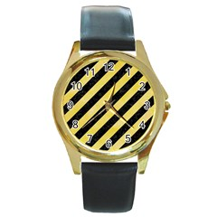 Stripes3 Black Marble & Yellow Watercolor (r) Round Gold Metal Watch