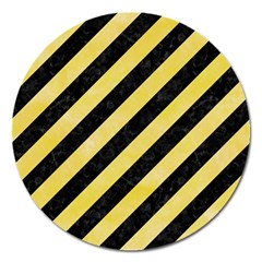 Stripes3 Black Marble & Yellow Watercolor (r) Magnet 5  (round)