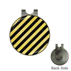 Stripes3 Black Marble & Yellow Watercolor (r) Hat Clips With Golf Markers