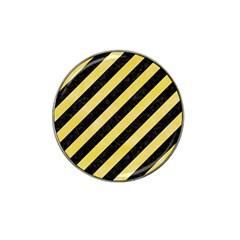 Stripes3 Black Marble & Yellow Watercolor (r) Hat Clip Ball Marker (4 Pack)