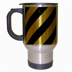 Stripes3 Black Marble & Yellow Watercolor (r) Travel Mug (silver Gray)
