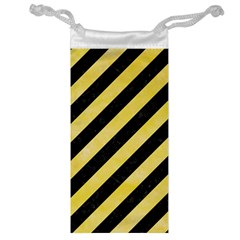 Stripes3 Black Marble & Yellow Watercolor (r) Jewelry Bag