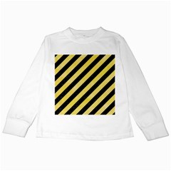 Stripes3 Black Marble & Yellow Watercolor (r) Kids Long Sleeve T Shirts