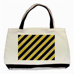 Stripes3 Black Marble & Yellow Watercolor (r) Basic Tote Bag