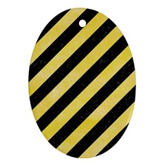 Stripes3 Black Marble & Yellow Watercolor (r) Oval Ornament (two Sides)