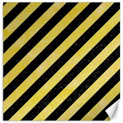 Stripes3 Black Marble & Yellow Watercolor (r) Canvas 12  X 12