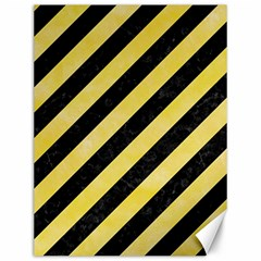 Stripes3 Black Marble & Yellow Watercolor (r) Canvas 12  X 16
