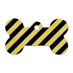 Stripes3 Black Marble & Yellow Watercolor (r) Dog Tag Bone (one Side)
