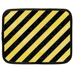 Stripes3 Black Marble & Yellow Watercolor (r) Netbook Case (large)