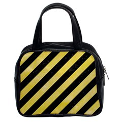 Stripes3 Black Marble & Yellow Watercolor (r) Classic Handbags (2 Sides)