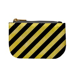 Stripes3 Black Marble & Yellow Watercolor (r) Mini Coin Purses