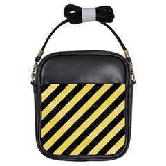 Stripes3 Black Marble & Yellow Watercolor (r) Girls Sling Bags