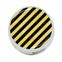 Stripes3 Black Marble & Yellow Watercolor (r) 4 Port Usb Hub (one Side)