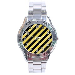 Stripes3 Black Marble & Yellow Watercolor (r) Stainless Steel Analogue Watch