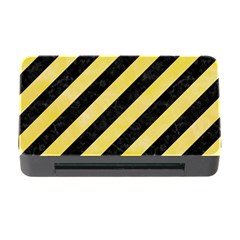 Stripes3 Black Marble & Yellow Watercolor (r) Memory Card Reader With Cf