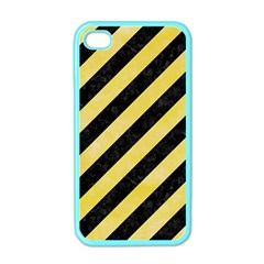 Stripes3 Black Marble & Yellow Watercolor (r) Apple Iphone 4 Case (color)