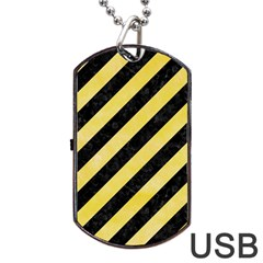 Stripes3 Black Marble & Yellow Watercolor (r) Dog Tag Usb Flash (two Sides)