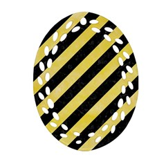 Stripes3 Black Marble & Yellow Watercolor (r) Oval Filigree Ornament (two Sides)