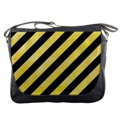 Stripes3 Black Marble & Yellow Watercolor (r) Messenger Bags