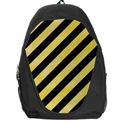 Stripes3 Black Marble & Yellow Watercolor (r) Backpack Bag