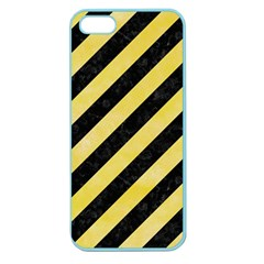 Stripes3 Black Marble & Yellow Watercolor (r) Apple Seamless Iphone 5 Case (color)