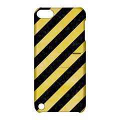 Stripes3 Black Marble & Yellow Watercolor (r) Apple Ipod Touch 5 Hardshell Case With Stand