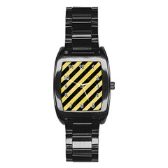 Stripes3 Black Marble & Yellow Watercolor (r) Stainless Steel Barrel Watch
