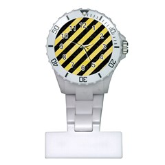Stripes3 Black Marble & Yellow Watercolor (r) Plastic Nurses Watch